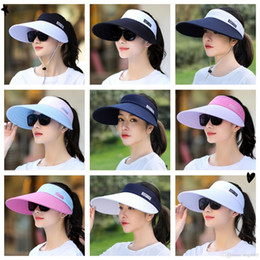$enCountryForm.capitalKeyWord Australia - wholesale 1PCS women summer Sun Hats pearl packable sun visor hat with big heads wide brim beach hat UV protection female cap