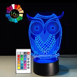 $enCountryForm.capitalKeyWord Australia - 40 piece lot OWL 3D Night Light RGB Changeable Mood Lamp LED Light DC 5V USB Decorative Table Lamp Get a free remote control