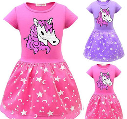 $enCountryForm.capitalKeyWord Australia - 3 Color Girl dress Unicorn double-sided flip sequined skirt screen double pleated skirt children's dress summer fashion kids Clothing