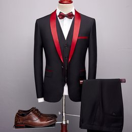 $enCountryForm.capitalKeyWord Australia - Plyesxale 3 Piece Suits Men 2019 Spring Autumn Red Shawl Collar Groom Wedding Suit Costume Homme Mariage Christmas Suit Q169 Y190420