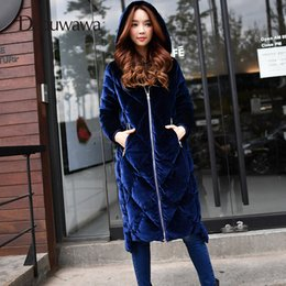 Long Parkas For Women Australia - Dabuwawa Autumn Winter Long Down Coat for Women Hooded Parkas Jacket Outerwear Warm Down Duck Female Coats Blue