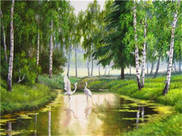 Cartoon Lake Australia - 16x20'' Two Swans Dancing on the Lake in the Green Forest DIY Paint By Numbers Kits On Canvas Art Acrylic Oil Painting