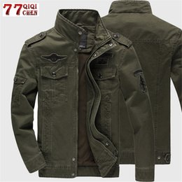 cargo military jacket Canada - 2019 Military Jacket Men Jeans Casual Cotton Coat Plus Size 6XL Army Bomber Tactical Flight Jacket Autumn Winter Cargo Jackets