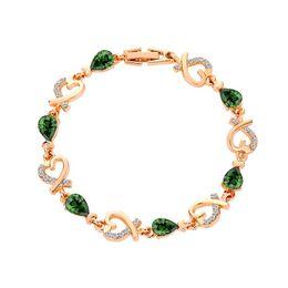 Crystal Treasures Australia - Fashion gold colour women Bracelet Bangle for woman Love shape treasure blue red zircon bracelet Valentine jewelry birthday gifts