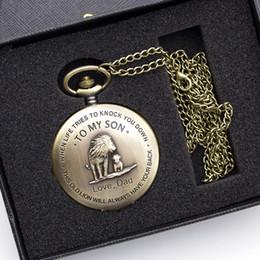 $enCountryForm.capitalKeyWord Australia - Vintage Bronze To My Son Design Quartz Pocket Watch Roman Numeral Display Pendant Clock Birthday Gifts With Box Dropshipping