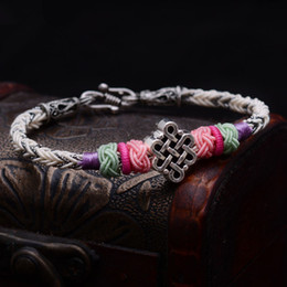 $enCountryForm.capitalKeyWord NZ - Lko Tibetan Silver Luck Chinese Knot For Man And Women Bracelet National Style Thai Hand Rope Free Shipping Y19051101