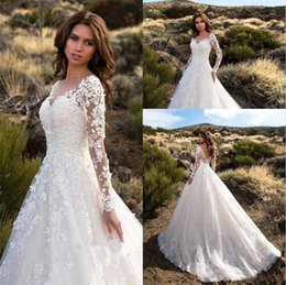 classic simple sexy wedding dresses UK - Sexy V Neck Backless A Line Sheer Lace Applique Long Sleeve Bridal Wedding Dress Classic Wedding Gowns