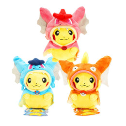 slowpoke plush doll UK - 25cm Cosplay Plush Dolls Toys Children Pikachu Charizard Slowpoke Magikarp Plush Dolls Toy Cloak Pikachu Free Fhipping