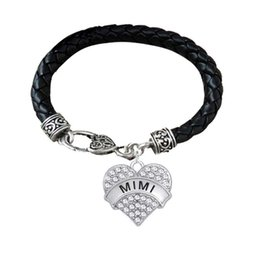 $enCountryForm.capitalKeyWord Australia - BTT11 Heart shaped Rhodium Plated Crystal Pendant Engrave Letter SURVIVOR and MIMI Pendant lether Bracelet