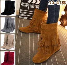 red suede booties women Australia - Fashion Women Martin Boots Increased Matte Suede Booties Autumn Winter Double Tassels Knee-high Ladies Bottines Size 35-45