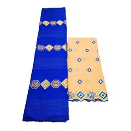 $enCountryForm.capitalKeyWord Australia - Blue bridal Cotton lace fabric African swiss voile lace fabric dubai swiss voile laces 5+2yards set fabric materia-CHE30