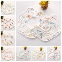 wholesale baby bibs kids UK - Baby INS Bibs Burp Cloths Infant Cartoon 8 Layer Bandana Waterproof Pure Cotton Saliva Bibs Scarf Kids Pinafore Feeding Towel Bibs TL1174
