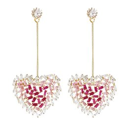 Wholesale Sparkling Love Heart Earring Long Inlaid Zircon Designer Earrings For Women Wedding Party Gift Luxury Jewelry
