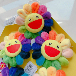 Kids Cute Flower Takashi Murakami Kiki Kaikai Brooch Rainbow Pin Badge Strap Plush Pendant on Sale