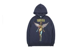 rock sweatshirts UK - High Street Unisex Loose Rock NIRVANA Angel Print Hooded Hoodies Mens Sweatshirts Women Top Mens Clothing Pullover Hoodies Top Quality
