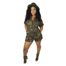 Camouflage rompers online shopping - New Camouflage Womens Jumpsuits Rompers Fashion Sashes Short Sleeve Female Bodysuit Sexy Summer Casual Ladies Clothing