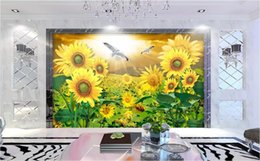 nature flowers wallpapers NZ - 3d wallpaper custom photo mural Sunflower flower sea beauty nature scenery landscape TV background wall wallpaper for walls 3 d