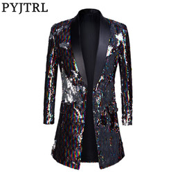 $enCountryForm.capitalKeyWord Australia - Pyjtrl Male Fashion Shawl Lapel Double-sided Colorful Sequins Long Suits Jacket Blazer Masculino Slim Fit Men Dj Singer Costume Y190417