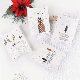 Xmas Gift Paper NZ - Merry Christmas Candy Gift Box Party Favors Xmas Tree Elk Printing Bag Children White Packaging Paper Boxes 0 42hb hh