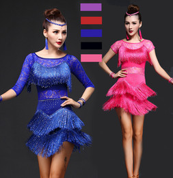 sequin fringe dance Australia - Latin Dance Dresses Women Girls Sexy Sequin Fringe Skirt Ballroom Tango Salsa Rumba Latin Dresses Clothes For Sale