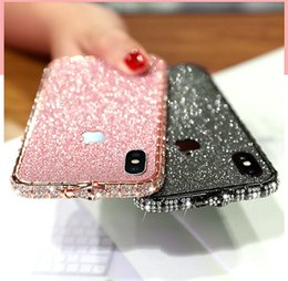 Iphone Metal Bumper Diamond Australia - Bling Diamond Metal Bumper Case Glitter Sticker For iPhone X XS Max 6 7 8 Plus
