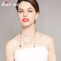 $enCountryForm.capitalKeyWord Australia - Silver Color Chain Long Necklace Korean Trending Simulated Pearl Crystal Snowflake Pendant Necklace Luxury