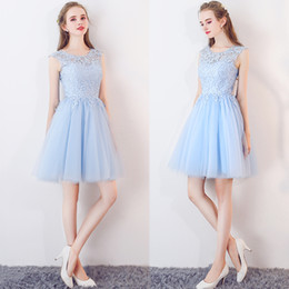 Black Baby Art Australia - Baby-Blue Sleeveless Short Appliques Lace Tulle Homecoming Dresses Guest Dress Gold Graduation dresses cocktail party dresses Robes 2019