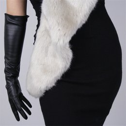 long black leather gloves NZ - Touchscreen Long Section Gloves 50cm 40cm Female Emulation Leather PU Black Warm Lined Touch Slim Hand Free Shipping WPU82