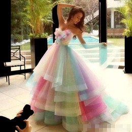 Discount quinceanera dresses organza flower - Rainbow Colorful Prom Dresses Sweetheart Layers Organza Handmade Flowers Graduation Dress Beads Pleats Princess Pageant