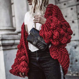 woven balls 2019 - JSXDHK Runway Loose Sweater Coat Winter Women Red Knitted Weave Manual Ball Thick Open Stitch Casual Lantern Sleeve Card