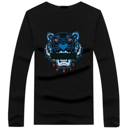 China Wholesale 22 color Tiger head T shirt Mens Tees Plus Size O-neck long Sleeve T Shirt man Printed Cotton Tiger head T-shirt S-5XL Tshirt supplier tiger print plus size shirt suppliers