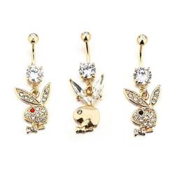 Золотой Цвет Милый Горный Хрусталь Кролик Головы Тела Ювелирные Изделия Пупка Кольца Пирсинг Пупка Кольцо на Распродаже