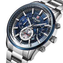Stainless Watch Army Australia - REWARD Watches Men VIP Stainless Steel Wrist Watch Chronograph Army Quartz Watches Relogio Masculino 2019