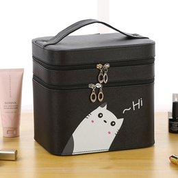 double layer cosmetic bags Australia - 2020 new ladies cosmetic bag multi-function travel waterproof cosmetic storage box cute double-layer bag women