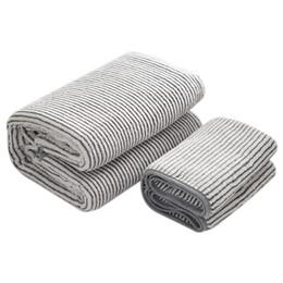 $enCountryForm.capitalKeyWord UK - CNIM Hot Grey Cotton Towel Set,2 Bath And 2 Hand Towels Microfiber Carbon Fiber Thick Towel For Adult Soft Dry Hair Fo