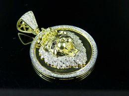 "$enCountryForm.capitalKeyWord NZ - 10K Yellow Gold Lion Head Medallion Genuine Diamond Pendant 1.28Ct 1.5"""