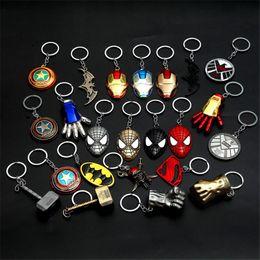 Superhero Keychains Canada - The Avengers Captain America Shield Keychain Superman Superhero Batman Thor Hammer KeyChain Ring Key ring Fashion Accessories party gift YD0
