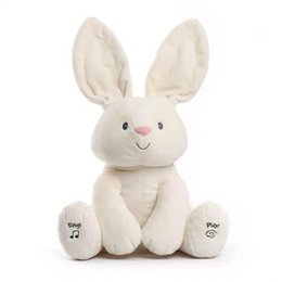 cute puppets UK - Shy Rabbit Phenanthrene Than Meeting Sing Cover Ears Music Leveret Motor-driven Lint Cute Toys American Girl Dolls Plush