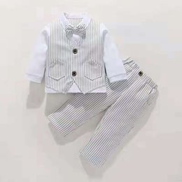 christmas clothes Australia - Winter Autumn Newborn Boy Gentleman Clothes Formal Kids Suit Children'S Wear Vest + Shirt + Trousers Boys Outfit Baby Clothes