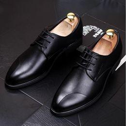 Red Man Dresses Australia - 2018 NEW fashion black red Genuine leather Men dress shoes, Male Business oxford shoes ,top quality original brand men Wedding shoes