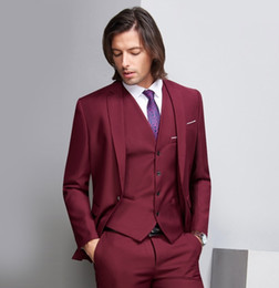 $enCountryForm.capitalKeyWord Australia - Deep Wine Red Formal Wedding Men Suits Three Piece Notched Lapel Custom Made Business Groom Wedding Tuxedos (Jacket + Pants + Vest)