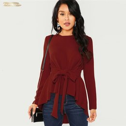 long sleeve belted blouse NZ - Long Sleeve Shirt Women Burgundy Elegant Blouse Ladies Top Self Belted Asymmetrical Hem Womens Tops And Blouses