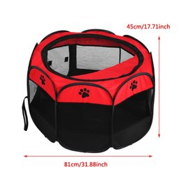 $enCountryForm.capitalKeyWord Australia - Pet Cat Dog Portable Foldable Cage Exercise Play Tent Mesh Cover Indoor Outdoor Use Red Fence Outdoor Supplies