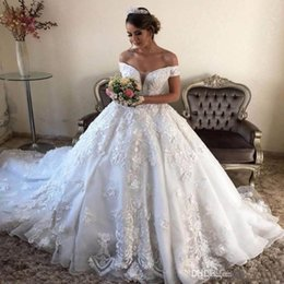 3d lace wedding dresses Australia - Lace Ball Gown Wedding Dresses White OfferThe Shoulder Lace Appliques 3D hand made flowers Beautiful vestido de noiva victorian dress