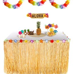 Hawaiian Luau Party Decorations Australia - Artificial Hibiscus Grass Table Skirt 108*29.5 inch Hawaiian Tropical Luau Party Tableware Decoration Birthday Party Supplies 40