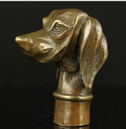 $enCountryForm.capitalKeyWord Australia - Crafts Copper Bronze Brass Copper Brass old Grandpa Good Lucky Collectible Old Handwork Carving Vivid Dog Statues Cane Head Walking Stick