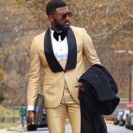 $enCountryForm.capitalKeyWord NZ - Gold Groom Tuxedo Wedding Suit for Men 3 Pieces Jacket+Pants+Vest Wedding Tuxedo Business Formal Groomsmen Best Man Suit