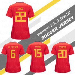 745423ac5 Female spain soccer jersey 2020 WOMEN SPAIN National Team shirts SILVA  ASENSIO Home Red Girl Football Shirts ISCO MORATA Lady Short Sleeve
