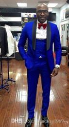H Suit Australia - New Arrivals One Button Royal Blue Groom Tuxedos Shawl Lapel Groomsmen Best Man Blazer Mens Wedding Suits (Jacket+Pants+Vest+Tie) H:591