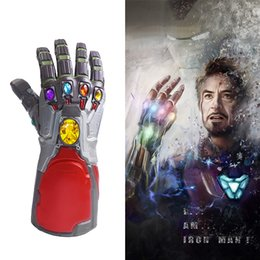 Iron Face Halloween Mask Australia - Endgame Mask Iron Man Infinity Gauntlet Marvel Arm Thanos Latex Gloves Led Superhero War Halloween Mask Party Prop Gift